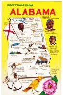 State Of Alabama Map Greetings, Famous Black Alabamans Booker T Washington George Carver, C1960s Vintage Postcard - Maps