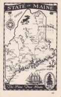 State Of Maine Map Greetings, C1950s Vintage Postcard - Maps