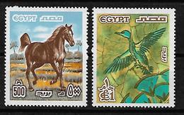 EGYPT YVERT  1042/1043, MICHEL 751/752 MNH** HORSE, BIRD, CABALLO, CHEVAL. - Egypt