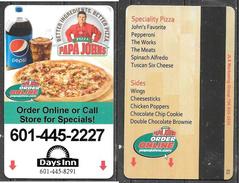 Hotel  - Days Inn, Papa Johns Pizza, Natchez, Mississippi - Cartes D'hotel