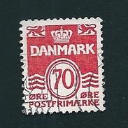 N° 519 Série Courante CHIFFRE 70  Timbre Danemark (1971) Oblitéré