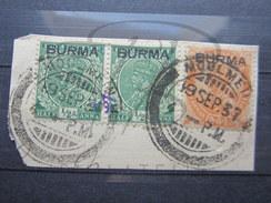"""BEAUX TIMBRES DE BIRMANIE N° 2 EN PAIRE + N° 6 , CACHET """" MOULMEIN """" !!! - Myanmar (Birmanie 1948-...)"""