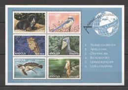 VV67 ANGOLA FAUNA ANIMALS BIRDS VIAS DE EXTINCAO 1KB MNH