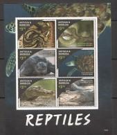 VV156 ANTIGUA&BARBUDA ANIMALS REPTILES SNAKE TURTLES CROCODILES 1KB MNH
