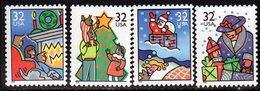 USA 1996 Christmas, 1st Issue, Sheet Stamps Set Of 4, MNH (SG 3256/9) - Etats-Unis