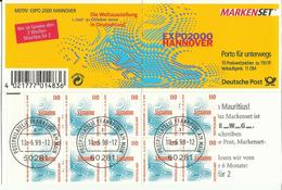 """BRD MH 39IoZ """"10x1,10 DM Briefmarken Zur Expo 2000 Hannover"""" Gestempelt, Mi.-Preis 14,00 €"""