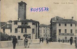 Veneto-treviso Citta'ponte S.martino Veduta Persone Sul Ponte Farmacia Drogheria Bella Animatissima Primi 900 - Treviso