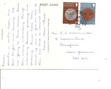 Guernesey -Monnaies ( CP De 1981 De Guernesey Vers Bradford à Voir)