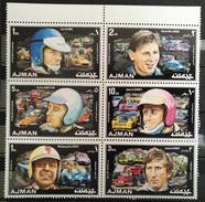 TS28 - Ajman 1971 Mi. 1067-1072 Complete Set 6v. MNH - Formula 1 Race Cars Heroes, Clark, MacLaren, Mitter, Giunti Rindt - Ajman