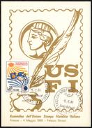 ITALIA FIRENZE 1968 - XII CONVEGNO FILATELICO FIORENTINO - CARTOLINA UFFICIALE ASSEMBLEA USFI UNIONE STAMPA FILATELICA