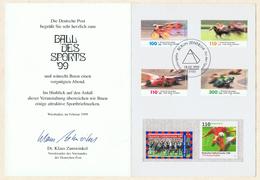 """Ball Des Sports '99 """"Fiesta Tropical"""". Erinnerungskarte Mit Zuschlagsmarken """"Für Den Sport"""" 1999."""