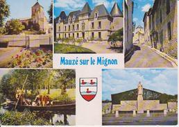 79 MAUZE SUR LE MIGNON - MULTIVUES AVEC BLASON - EGLISE / CHATEAU / TRANSPORT BETAIL - Mauze Sur Le Mignon