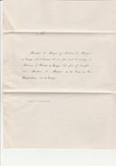 FAIRE-PART MARIAGE  VICOMTE DE SIEYES ET MME LA MARQUISE DE LA TOUR DU PIN - VALENCE 19 JANVIER 1860 - Boda