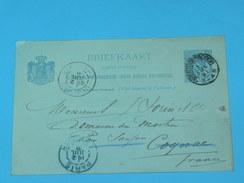 ENTIER POSTAL /Briefkaart G.27 / CARTE POSTALE 1887 / DE S Hertogenbosh BOIS LE DUC / A SAUJON  / COGNAC DOMAINE MORTIER - Postal Stationery