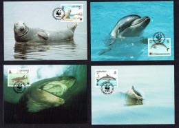 1990 Guernsey - Seal, Dolphin, Shark, Porpoise - Set Of 4 WWF Maximum Cards