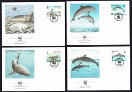 1990 Guernsey - Seal, Dolphin, Shark, Porpoise - Set Of 4 WWF FDCs