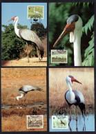 1987 MALAWI Wattled Crane (Bird) -  Set Of 4 On WWF Maximum Cards