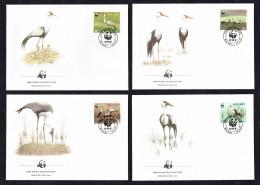 1987 MALAWI Wattled Crane (Bird) -  Set Of 4 On WWF FDCs