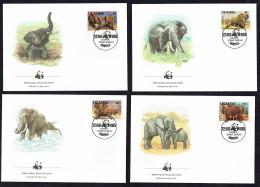 1983  UGANDA  African Elephant  -   Set Of 4 On WWF  FDCs - Ouganda (1962-...)