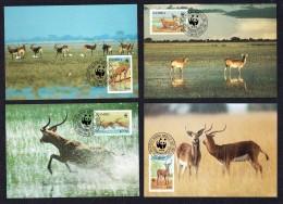1987  ZAMBIA Black Lechwe - Antelope -   Set Of 4 On WWF  Maximum Cards - Zambia (1965-...)