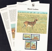 1987  ZAMBIA Black Lechwe - Antelope -    MNH Set Of 4 On WWF Illustrated Descriptive WWF Sheets - Zambia (1965-...)