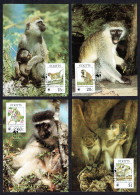 1986  ST KITTS - Green Monkey     Set Of 4 On WWF Maximum Cards - St.Kitts And Nevis ( 1983-...)