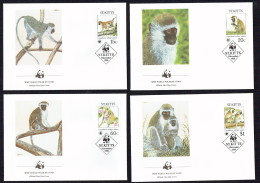 1986  ST KITTS - Green Monkey     Set Of 4 On WWF FDCs - St.Kitts And Nevis ( 1983-...)