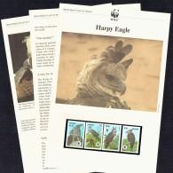1990 GUYANA Harpy Eagle  -   MNH Set Of 4 On WWF Illustrated Descriptive Sheets - W.W.F.