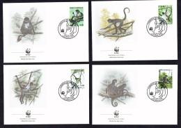 1990  HONDURAS Geoffroy's Spider Monkey   -    Set Of 4 On WWF FDCs - Honduras
