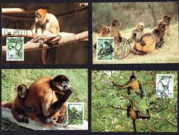 1990  HONDURAS Geoffroy's Spider Monkey   -    Set Of 4 On WWF Maximum Cards - Honduras