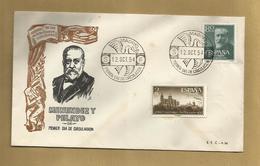 Enveloppe Entière Menendez Y Pelayo Primer Dia De Circulacion Madrid Espana 2 Scans 12/10/1954 - Cartes Maximum