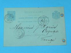 "ENTIER POSTAL /Briefkaart G.30  / CARTE POSTALE 1887 / DE AMTERDAM "" WIJNEN "" / A SAUJON  / COGNAC DOMAINE MORTIER / - Postal Stationery"