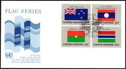 ONU UNITED NATIONS NEW YORK 1986 - FLAGS - 4 FDC - JORDAN / ETHIOPIA / ROMANIA / COLOMBIA / ICELAND / TOGO / NEW ZEALAND