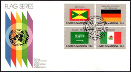 ONU UNITED NATIONS NEW YORK 1985 - FLAGS - 4 FDC - LIBERIA / CHAD / FINLAND / GHANA / USSR / INDIA / MEXICO / GERMANY