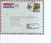Singapour ( Lettre Recommandée Par Avion De 1975 De Singapore Vers La Grande-Bretagne à Voir)