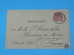 ENTIER POSTAL /Briefkaart  / CARTE POSTALE 1887 / DE GRONINGEN  AGENTUURZAAK / A SAUJON / COGNAC DOMAINE MORTIER / - Periode 1891-1948 (Wilhelmina)