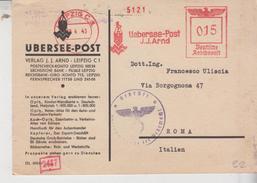 Ema Affrancature Meccaniche Rosse 1941 Deutsche Reichspost Leipzig Uebersee Post   Gg - Marcophilie - EMA (Empreintes Machines)