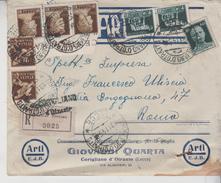 Regno  20/11/1945 Busta  G. Quarta Corigliano D'otranto  Mista Affrancatura Racc. Francavilla Fontana Brindisi  Gg
