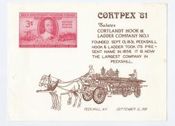 1981 USA CORTPEX  - FIREFIGHTING SOUVENIR CARD Cortlandt Hook Ladder Co FIRE ENGINE FIREMEN Philatelic Exhibition Stamps