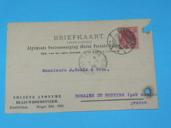 ENTIER POSTAL /Briefkaart G.30  / CARTE POSTALE 1887 / DE AMSTERDAM SA BLAAUWHOEDEN/ A SAUJON / COGNAC DOMAINE MORTIER / - Periode 1891-1948 (Wilhelmina)