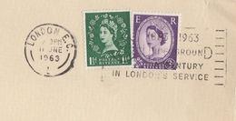 1963 London EC L,  GB COVER SLOGAN Pmk TRAIN UNDERGROUND A CENTURY Of SERVICE Railway Stamps