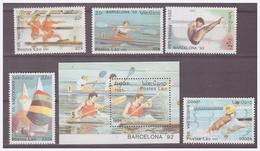 756 Laos 1991 Olympics Barcelona 1992 Sailing Rowing Swimming Canoe + S/S MNH - Sommer 1992: Barcelone