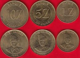 Zaire Set Of 3 Coins: 1 - 10 Zaires 1987-1988 Km#13,14,19 - Zaïre (1971-97)