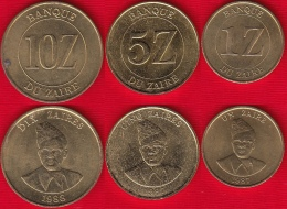 Zaire Set Of 3 Coins: 1 - 10 Zaires 1987-1988 Km#13,14,19 - Zaire (1971-97)