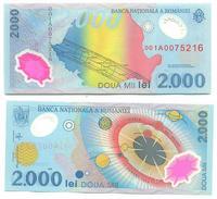 Rumanía - Romania 2.000 Lei 1999 (polímero), SERIE 001A Pick 111.b UNC - Rumania