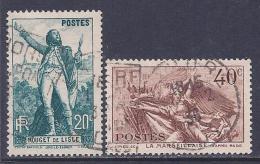 France, Scott # 309-10 Used Rouget De Lisle, 1936