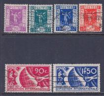 France, Scott # 315-20 Used Paris Exposition, 1936