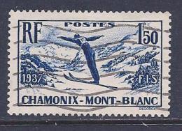 France, Scott # 322 Used Skiing, 1937