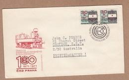 Czechoslovakia FDC 1971 Centenary Of Prague CDK Locomotive Works - Postally Used To Australia