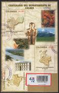 HF61.-.KOLUMBIEN / COLOMBIA.-S/S.- MI: BLOCK 63- 2005.- USED-100 YEARS OF CALDAS DEPARTMENT-ADD STAMP ATLANTIC DEPT.